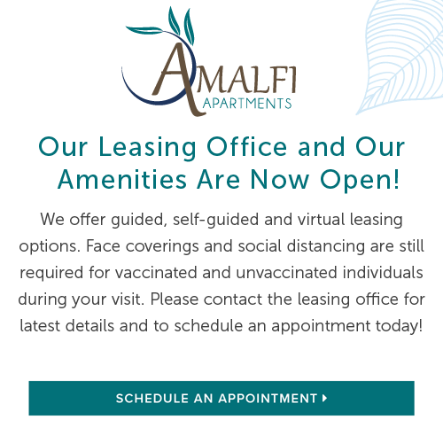 We offer guided, self-guided and virtual leasing options. Face coverings and social distancing are still required for vaccinated and unvaccinated individuals during your visit. Please contact the leasing office for latest details and to schedule an appointment today!